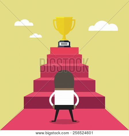 African Businessman Standing In Front Of Stair That Leads The Trophy, Shortcut To Success