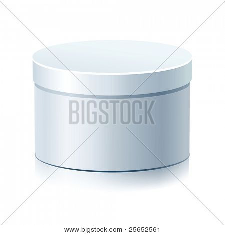 White Blank Round  Box Isolated on a White Background.