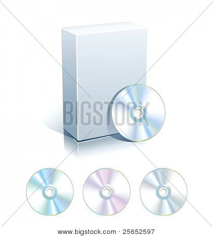 White blank box with set of CD,DVD disks.Vector.