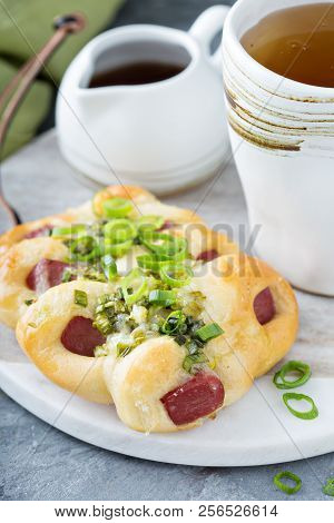 Green Onion And Hot Dog Bun, Savory Pastry