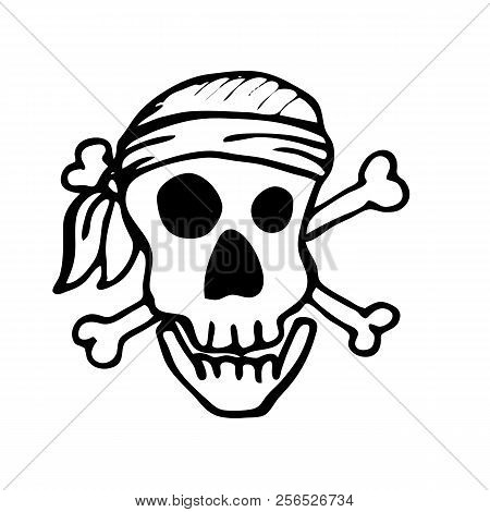 Pirate Skull Design Element For Decorating Childrens Holidays Invitations Stickers And Posters O