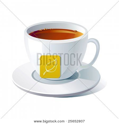 Vector cup of tea on white background