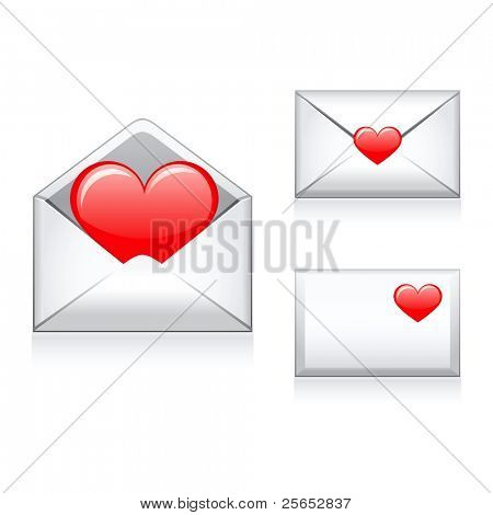 Set vector e mail,envelop icons with heart.