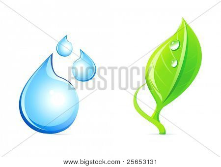 Water drop and plant icons.