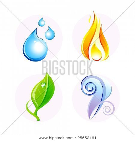 Set of four vector elements: fire, water, air, ground.