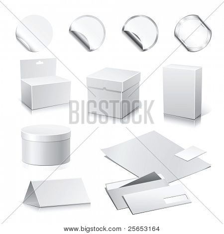 Set of vector white paper - packaging and stationery elements.