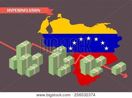 Hyperinflation In Venezuela Concept. Economy Vector Illustration Concept