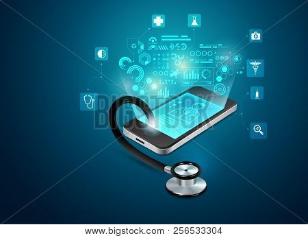 Concept Of Telemedicine Or E-health, Graphic Of Realistic Smart Device With Stethoscope Reaching Out