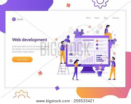 Modern Vector Illustration Concept. The Team Of Web Developers Constructs A Personal User Account Or