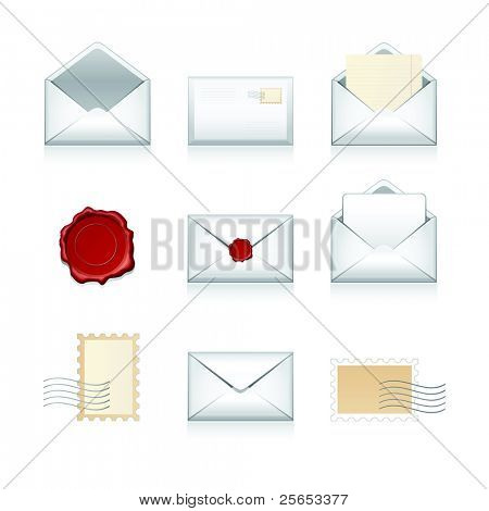 Big set vector e-mail, envelop icons with wax press.