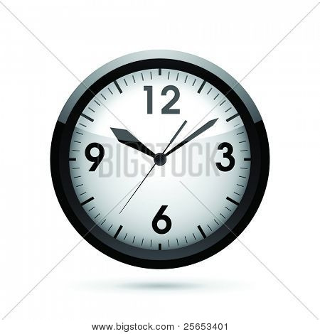 Vector illustration of a black clock.