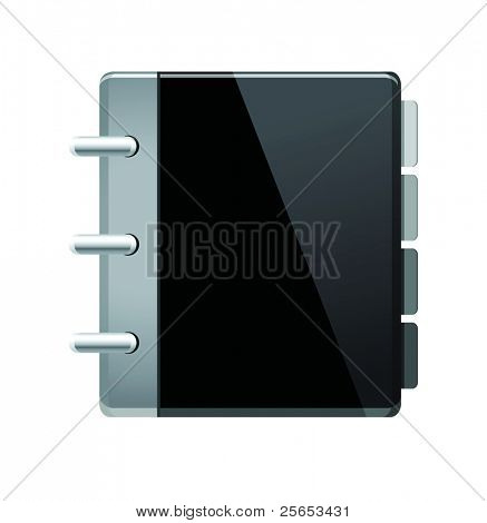 Vector black notebook (organizer) icon.