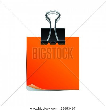Orange note pad with black paperclip isolated on white background..
