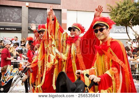 Limassol, Cyprus - March 13, 2016 - Unidentified Participants During The Carnival Parade, Establishe