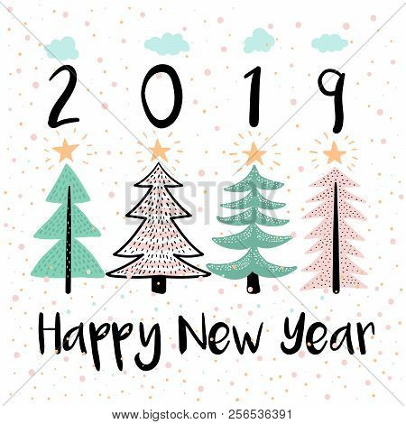 Happy New Year Vector Modern Illustration. Four Pine Trees With Stars And Snow Flakes Childish Pictu