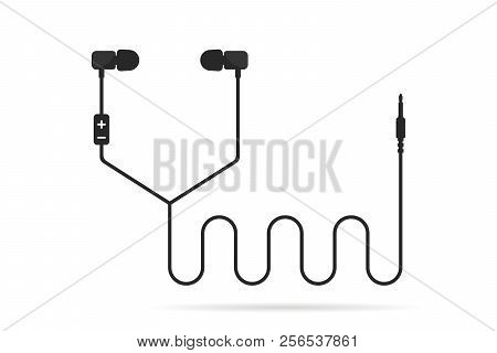 Black Earphones Line Isolated On White. Concept Of Meloman Items Like Earbud Or Ear Plugs With Songs