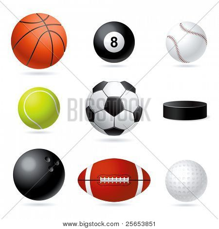 Raster set illustration of sport balls.