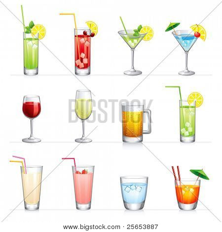 Set of vector illustration of different drinks and cocktails.Isolated on white.