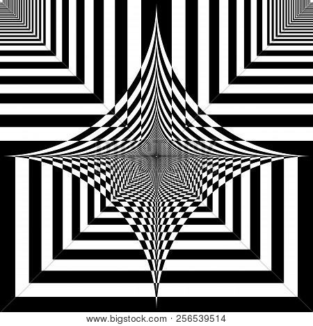 Abstract Arabesque Spinning Hypnotic Space Design Black On Transparent Background