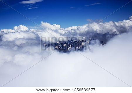 Mountains Hiding In Clouds, View From Elbrus Side
