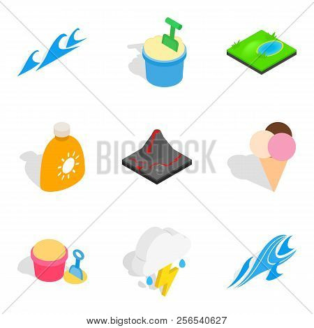 River Journey Icons Set. Isometric Set Of 9 River Journey Icons For Web Isolated On White Background