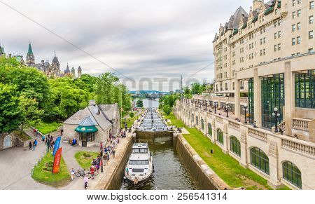 Ottawa,canada - June 23,2018 - View At The Rideau Canal In Ottawa. Ottawa Is The Capital City Of Can