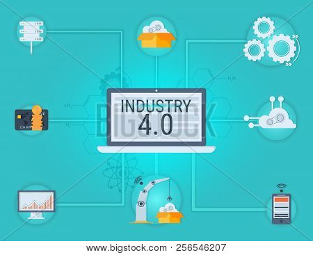 New Industrial Revolution. Industry 4.0 Banner: Smart Industrial Revolution, Automation, Robot Assis