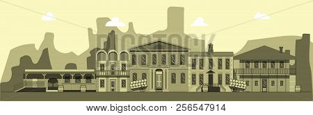 City Street In Style Of Wild West. Building, Tavern Bank And Other Buildings On Background Of Mounta