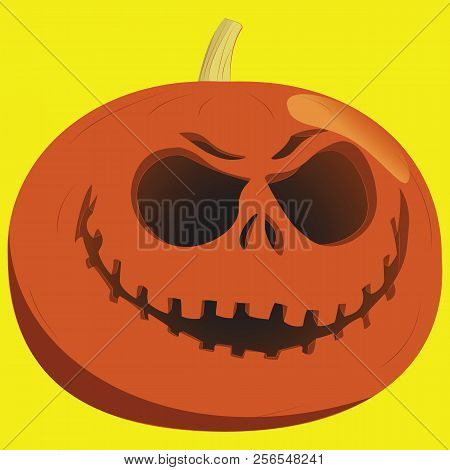 Halloween Pumpkin Lantern On A Yellow Background. Woodcut Style Design, Hand Drawn Doodle, Sketch In