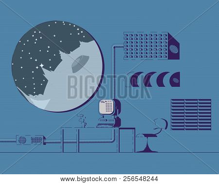 Researcher Room On Space Station. Porthole With View Of Planet With Craters. Armchair And Table With