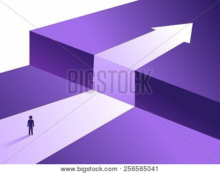 Business Challenge And Solution Vector Concept With Person Standing Over Big Cliff. Symbol Of Overco