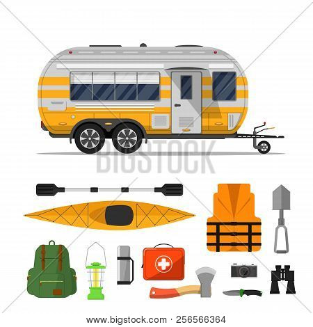 Travel Life Poster With Camping Trailer And Tourist Equipment On White Background. Rv Trailer, Backp