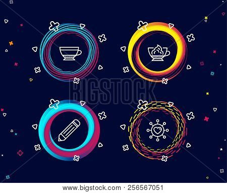Set Of Pencil, Dry Cappuccino And Espresso Cream Icons. Dating Network Sign. Edit Data, Beverage Mug