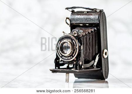 ESKISEHIR , TURKEY - AUGUST 28, 2018: Vintage Gauthier Calmbach, Pronto folding camera