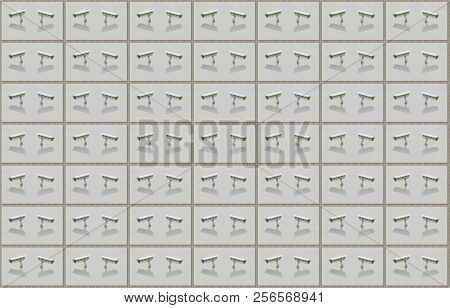 Pattern Of Security Cameras On A Facade