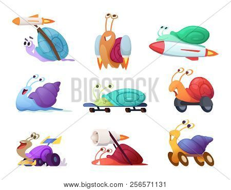 Fast Cartoon Snails. Business Concept Characters Of Competitive Quick Cute Slug Vector Race Mascots