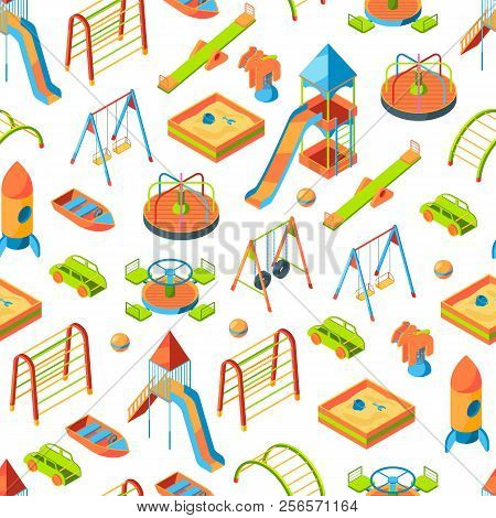 Vector Isometric Playground Objects Background Or Pattern Illustration. Swing Outdoor, Recreation Ca