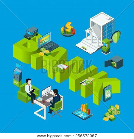 Vector Isometric Money Flow In Bank Icons Infographic Concept Illustration. Finance Money Bank, Bank