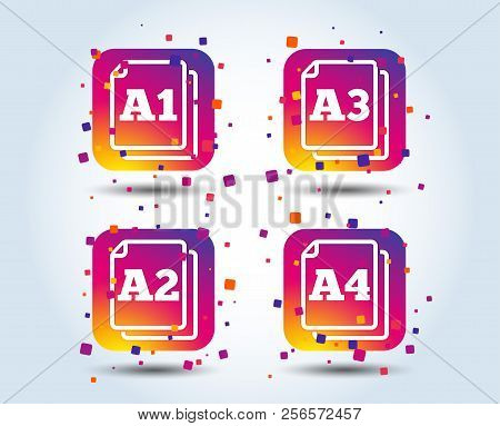 Paper Size Standard Icons. Document Symbols. A1, A2, A3 And A4 Page Signs. Colour Gradient Square Bu