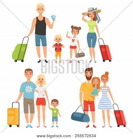 Family Goes At Summer Vacations. Happy Family Travelling. Family Vacation Travel With Luggage, Vecto