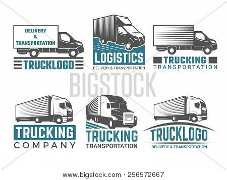 Truck Logo. Business Symbols Emblems Of Transportation Or Logistics Company With Illustrations Of Va