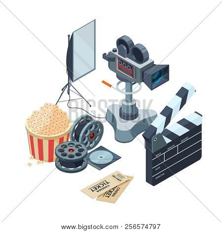 Production Of Video. Vector Isometric Concept Of Video And Photo Production. Illustration Video Came