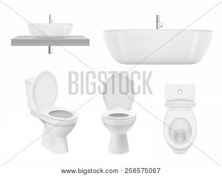 Realistic Bathroom Collection. Toilet, Washing Cabinet Bowl Bathroom Sink Clean White For Fresh Wash
