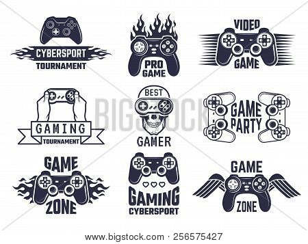 Gaming Logo Set. Video Games And Cyber Sport Labels. Gamer Emblem Logo, Sport Cyber, Video Gaming, V