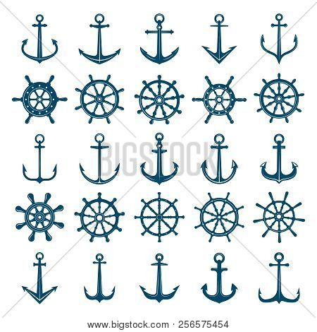 Wheels Ship Anchors Icon. Steering Wheels Boat And Ship Anchors Marine And Navy Symbols. Vector Silh