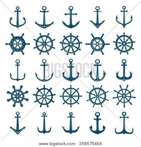 Wheels Ship Anchors Icon. Steering Wheels Boat And Ship Anchors Marine And Navy Symbols. Vector Silh