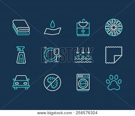 Microfiber cloth properties flat line icons. Absorbing material, dust cleaning, washable, antibacterial, clean detergent illustrations. Thin signs for napkin package poster