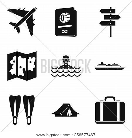 River Recreation Icons Set. Simple Set Of 9 River Recreation Icons For Web Isolated On White Backgro
