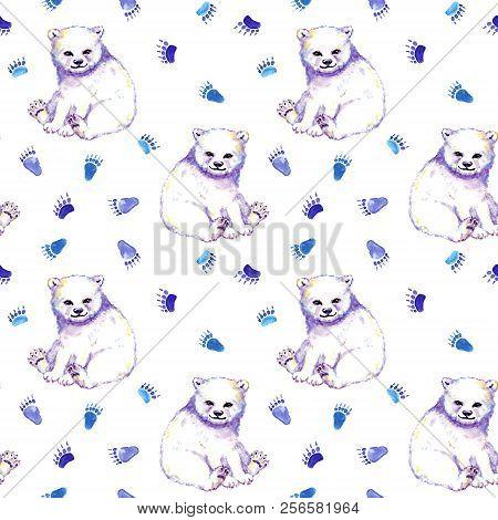 White Bear, Foot Prints. Seamless Animals Pattern. Watercolor