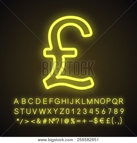 Pound Neon Light Icon. Great Britain National Currency. Glowing Sign With Alphabet, Numbers And Symb